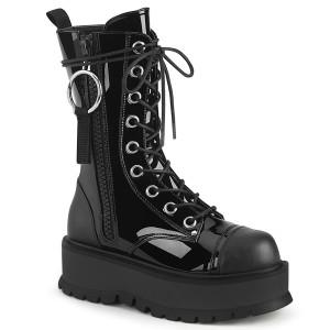 Black 9 Eyelet Platform Boots Oversize O-Ring Zipper Pull