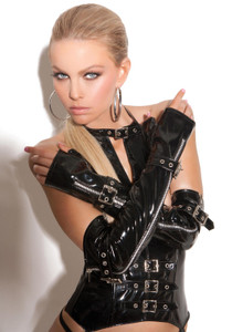 Fingerless Vinyl Gloves with Zipper & Buckle Detail