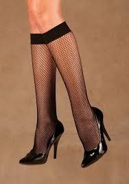 Women's Black Knee High Fishnet Stockings