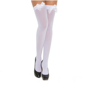 Opaque White Thigh High with Bows