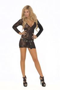 Black Deep V Lace Long Sleeve Mini Dress