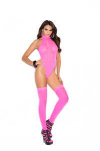 Neon Pink Teddy and Matching Stockings