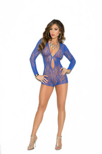 Blue Long Sleeve Lace Romper With Keyhole Front