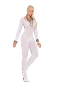 Opaque Long Sleeve Crotch Bodystocking