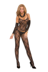 Black Bow Tie Lace Sleeve Bodystocking