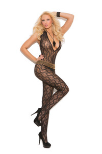 Black Deep V Lace Bodystocking with Open Crotch