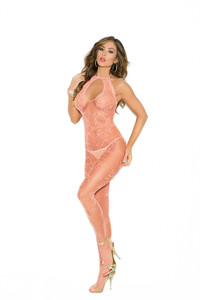 Nude Patterned Fishnet Bodystocking