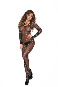 Black Polka Dot Long Sleeve Bodystocking with  Open Crotch
