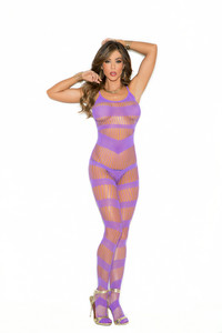 Purple Strappy Bodystocking with Open Crotch