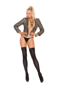 Back Opaque Thigh High Stockings with Bow
