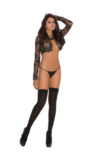 Black Thigh High with A Bow & Lace Trim