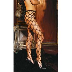 Black Mesmerizing Diamond Lace Pantyhose
