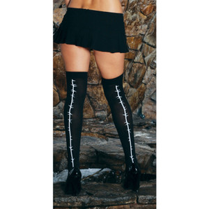 Black Opaque Thigh High Stockings with Printed Barb Wire Back Seams