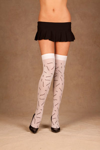 Opaque White Thigh High Stockings with Printed Stitch Details
