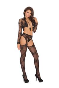 Black Lace Suspender Pantyhose
