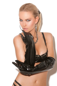 Long Sleve Vinyl Gloves Black