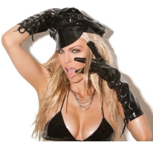 Long Sleeve Vinyl Gloves with Corset Detail Black
