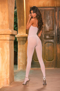 Opaque Body Stocking with Spaghetti Straps and Open Crotch Plus Size