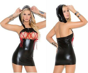 Women's Hooded Mini Vinyl Dress with Corset Lacing