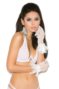 Mesh White Gloves with  Bow