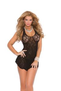 Black Lace Halter Mini Dress