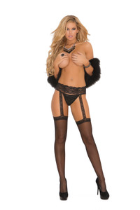 Thigh High Stockings with Lace Garter Belt