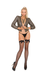 Fishnet Back Seam Stockings with Satin Bow