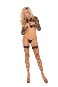 Footless Net Thigh High Stockings with Lace Trim
