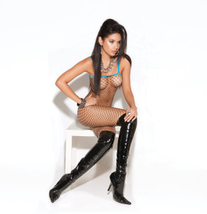 Black FishNet Bodystocking with Blue Trims