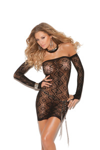 Open Back Strapless Dress with Matching Gloves