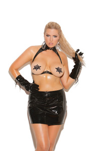 Vinyl 2 Piece Set with Underwire and Spanking Skirt