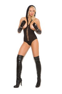 Black Opaque Cupless Teddy with Hood