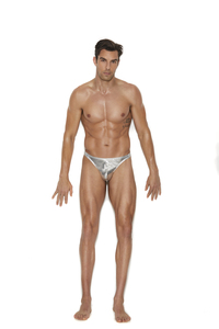 Men's Silver Lamé Thong