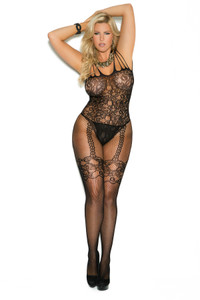 Plus Size Black Fishnet and Lace Bodystocking