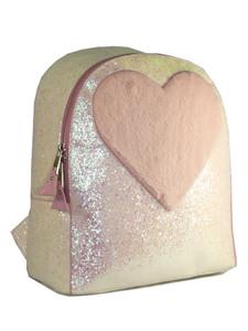 Feels Treqr Pink Fuzzy Heart Shape Backpack