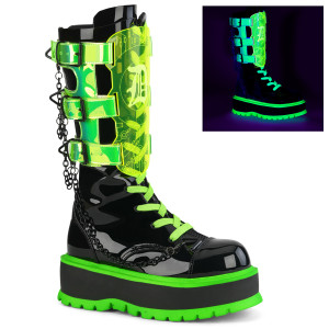 UV Blacklight Lace-Up Front Mid-Calf Boot Platforms
