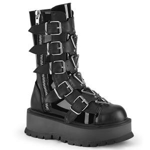 5 Buckle Strap Platform Lace Up Boots