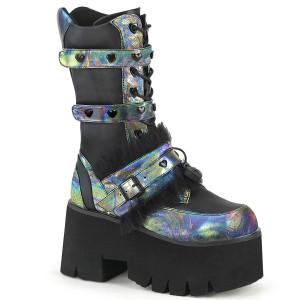 Vegan Holo Chunky Heel Furry Platform Boots