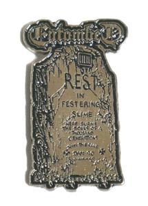 """Entombed - Rest in Festering Slim  2.5"""" Metal Badge"""