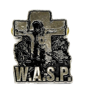 "W.A.S.P. - Cross 2.5"" Metal Badge"