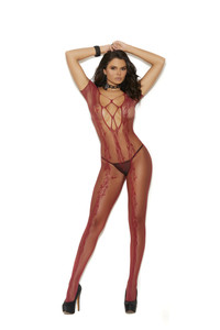 Open Crotch Red Crochet Lace Bodystocking