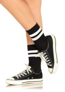 Black and White Striped Anklet Ladies Socks
