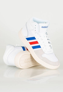 ADIDAS - Hoops 2.0 Retro Blue and Red Striped White Sneakers