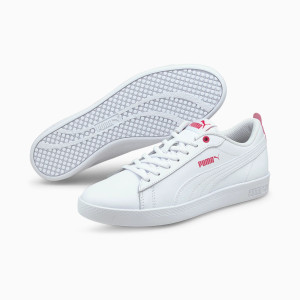 PUMA - Smash v2 White and Hot Pink Woman's Leather Sneakers