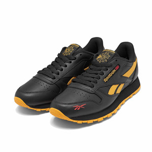 REEBOOK - Men's Black and Yellow Classic Leather Sneakers