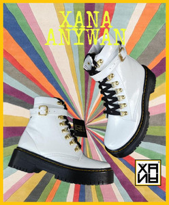 XANA - White Vegan Combat Boots with Gold Accents