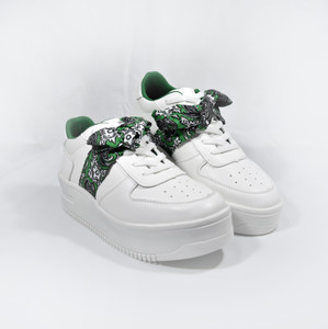 XANA - White Cholo Mexican Styled Sneakers with Green Bandana