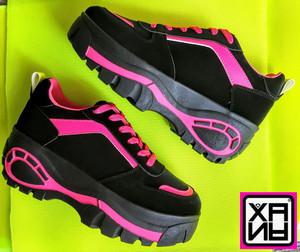 XANA - Black Bootie Platform Sneakers with Hot Pink Details