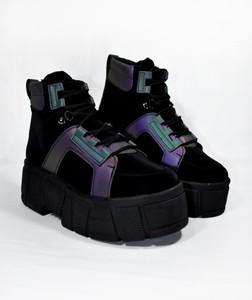 XANA - Black Holographic Bootie Platform Boots