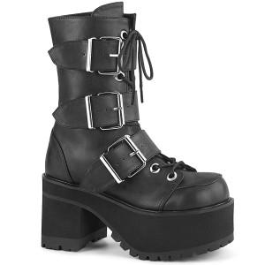Girls Black Vegan Platform Goth Boots with Heavy Duty Buckles